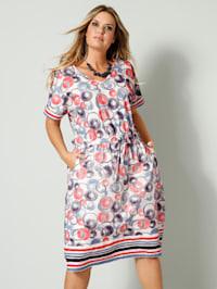 Jersey-Kleid mit elastischer Taille mit Bindeband