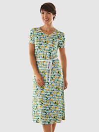 Jersey jurk met citroenmotief