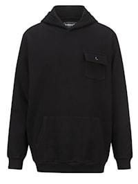 Kapuzensweatshirt mit aufgesetzter Brusttasche mit Druckknopf