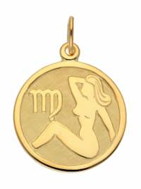Damen & Herren Goldschmuck 333 Gold Sternzeichen Anhänger Jungfrau Ø 16 mm