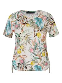 Shirt mit buntem Blumenmuster und Raglanärmeln