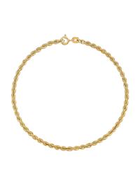 Bracelet maille cordon en or jaune 375