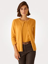 Cardigan with shimmering thread and ajour knit detail