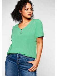 T-Shirt mit leichten Puffärmeln und kurzer Knopfleiste