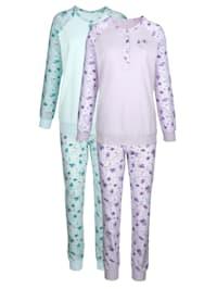 Pyžama s raglánovými rukávmi