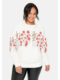 Sweatshirt mit Stehkragen und floralem 3D-Druck