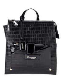 Ryggsäck med liten väska och präglat mönster 2 delar