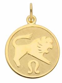 Damen & Herren Goldschmuck 333 Gold Sternzeichen Anhänger Löwe Ø 16 mm