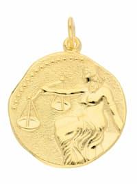 Damen & Herren Goldschmuck 333 Gold Sternzeichen Anhänger Waage Ø 18,2 mm