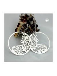 Ohrhaken 53x37mm Schmetterlinge glänzend Silber 925