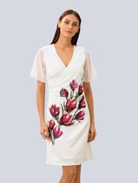 Kleid mit partiellem Blumendruck
