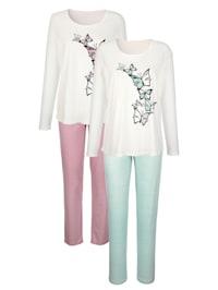 Pyjama's per 2 stuks van comfortabel zuiver katoen