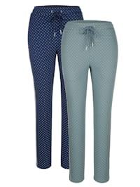 Sportovní kalhoty, 2kusy s pěkným ozdobným lemováním