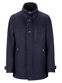 Vlnený kabát s pletenou vsadkou na golieri