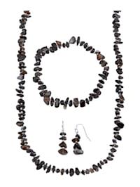 3tlg. Schmuck-Set mit schwarzen Achaten (beh.)