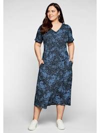 Sheego Jerseykleid mit V-Ausschnitt und Blumendruck