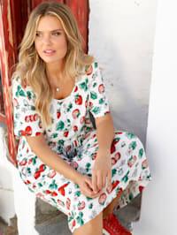 Jersey-Kleid mit Erdbeerdruck