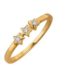 Naisten sormus 3 timantilla