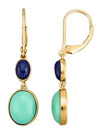 Boucles d'oreilles avec turquoise et lapis-lazuli