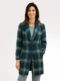 Krátky kabát s károvaným vzorom