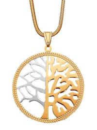 Anhänger Lebensbaum in Gelb- und Weißgold 375
