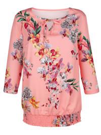 Tunique à imprimé floral devant et dos