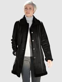 Krátký kabát z imitace velurové kůže