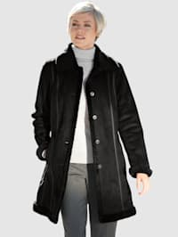 Manteau court en cuir velours synthétique