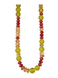 Collier de citrines, cornalines et jades