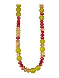 Halskette aus Citrin, Carneol und Jade