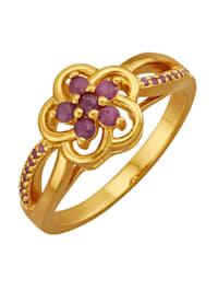 Blumen-Ring mit Rubinen