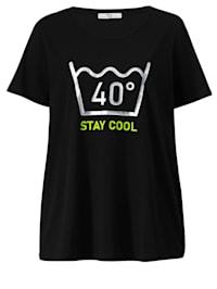 Shirt met glanzend motief