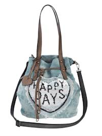 Mechová kabelka s barevně odlišnými oboustrannými pajetky