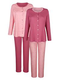 Pyjamas i 2-pack med genomgående knäppning
