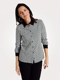 Jersey blouse met pied-de-pouledessin