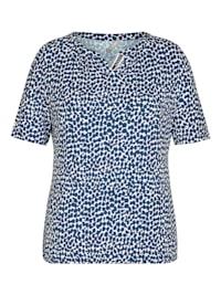 Shirt mit getupftem Muster und halblangen Ärmeln