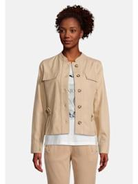 Casual-Jacke mit aufgesetzter Brusttasche Taillentunnel