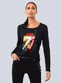 Shirt mit grafischem Pailletten Dessin