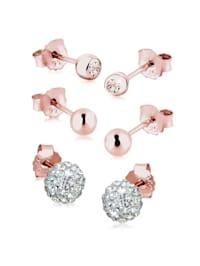 Ohrringe 3Er Set Kristalle Rosé Vergoldet