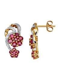 Boucles d'oreilles avec rubis et diamants
