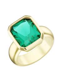 Ring mit grünem Kristallstein, vergoldet, Silber 925