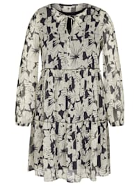 Kleid mit geblümtem Allover-Muster und Ballonärmeln