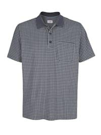 Poloshirt mit Hahnentritt-Druck