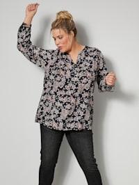 Tunika-Bluse mit Ärmeln zum Krempeln