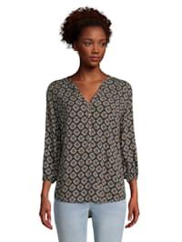 Casual-Bluse mit Muster Aufschlag / Krempel
