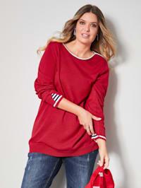 Pullover mit Streifen-Einsatz am Ärmelsaum