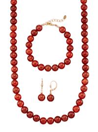 Halsband, armband & örhängen av röda agatkulor