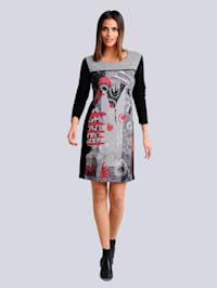 Jersey jurk met een dessinmix