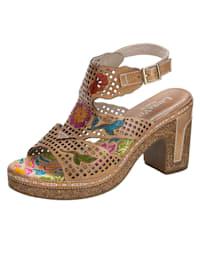 Sandale mit Blütenapplikation