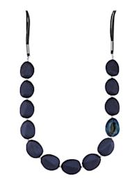 Collier à pierres en verre bleues